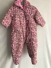 Baby Girls Pink Leopard Print Hooded Snowsuit / All In One * 3-6 Months * Next