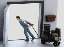 FREIGHT Laborer pulling in his heavy- LOADED Dolly, O Scale FINISHED SET