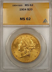 1904 $20 Liberty Double Eagle Gold Coin ANACS MS-62 SB (H)