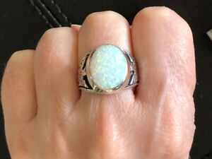 HUGE BIRD OF PREY Mens White Opal Solid sterling Man Ring Thunderbird Eagle 12 Y
