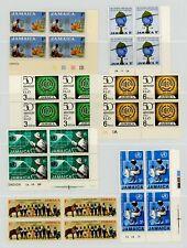 Jamaica 1960-70 Various Commemorative Blocks of 4, Plate Nos etc. NH