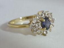 Stunning Blue Spinel & White Topaz 9K Gold Ring Size N