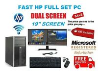 "Windows 10 Cheap Fast HP Core Full System 19"" Dual Monitor Desktop Computer PC"