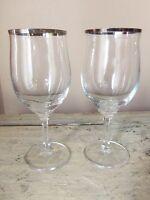 Haviland Bavaria Germany 2 Wedding Ring Water Goblets Glasses Platinum EXC!