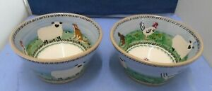 Two Nicholas Mosse Irish Pottery Farm Animal Pattern Large Bowls