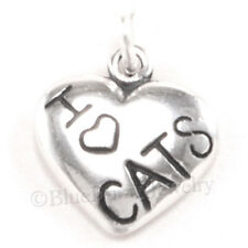 I LOVE CATS Charm Pendant Heart 925 Sterling Silver .925 Kitty Cat Pet Jewelry