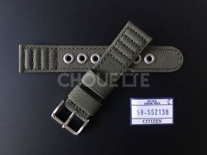 Citizen Eco-Drive AT0200-05E, H500-S026989 20mm Green Canvas Watch Strap Band
