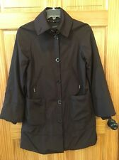 jones New York Brown Microfiber Rain Trench Coat Jacket Parka Swing A Line Small