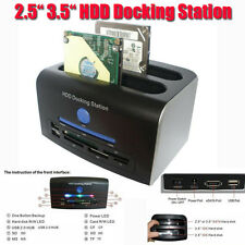 "2.5"" 3.5"" SATA IDE HDD Docking Station Dual Hard Disk Drive Dock ESATA USB HUB"