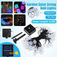 50 LED Guirlandes Lumineuses Eclairage Solaire Jardin Extérieur Étanche Boule