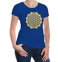 Damen Kurzarm Girlie T-Shirt Flower-of-Life-Symbol Blume des Lebens Religion