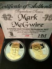 Mark McGwire 2-Coin Matched Number Set .999 Silver 24K Gold Overlay # 295/500