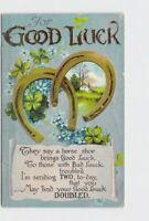 ANTIQUE POSTCARD GOOD LUCK HORSE SHOES POEM FLOWERS CLOVER EMBOSSED