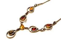 Bijou argent 925 collier pendentif ambre multicolore necklace