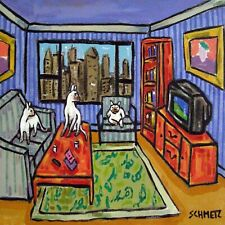 Siamese cat art Tile coaster ceramic gift Jschmetz television pop art folk art
