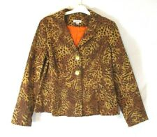 Joan Rivers Leopard Print Jacket Blazer Large Button Long Sleeve Womens CC672