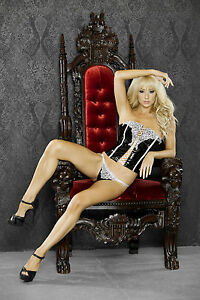 I Do Black Lace Up Straight Corset, Embroidered Accent. Fantasy Lingerie, Small