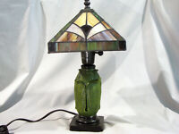 QUOIZER STAINED GLASS SHADE - GRUEBY STYLE BASE BOUDOIR