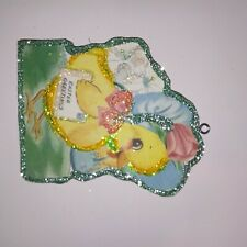 Easter Glitter Wood Ornament Easter Chick with Easter Card Easter Greetings!