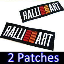 2 x RALLI ART MITSUBISHI Advertising Embroidered Iron on Patch Racing EVO WRC