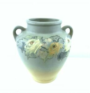 "Weller Ware Hudson Vase Embossed Painted Yellow & White Roses Signed 7""  T141"