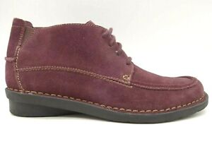 Clarks Burgundy Suede Leather Casual Lace Up Chukka Ankle Boots Women's 8 M
