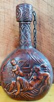 Vintage Spanish Tooled Leather Wrapped Decanter Whiskey Bottle W/ Stopper