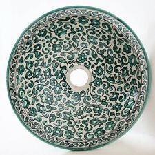 Marokkanisches Aufsatzwaschbecken aus Keramik Handgetöpfertes Becken D39 FES-V-I