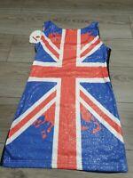 Punkyfish Union Jack Dress Sequins Size L