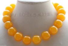 "Genuine Natural 20mm Yellow Round Jade Gemstones Beads Necklace 18"""