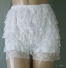 VINTAGE STYLE SILKY WHITE FRILLY NYLON FRENCH KNICKERS BLOOMERS Med