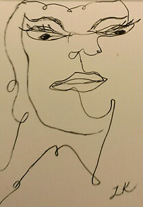 ACEO original snooty woman drawing by Lynne Kohler 2.5x3.5""
