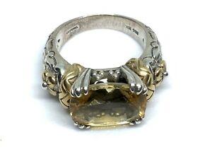 BARBARA BIXBY Sterling Silver 18K GOLD Citrine Gemstone FLOWER Ring (Sz. 8)