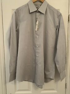 Mans Sidi  A Facis TRADE MARK place Grey Pinstripe Shirt Size 17.5 REGULAR BNWT