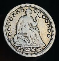 1853 Seated Liberty Half Dime 5C Arrows High Grade Choice US Silver Coin CC6718