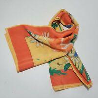 "Vtg Vera Neumann Polyester Scarf Orange Yellow Floral Shawl Wrap 26"" x 27"""