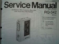 Panasonic RQ-342 REGISTRATORE A CASSETTE MANUALE SERVIZIO diagramma di cablaggio parti