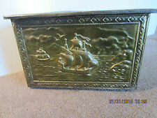 ANTIQUE, BRASS CLAD, SHIP'S MOTIF STOWAGE BOX