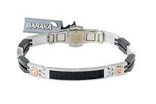 BARAKA Men's BR282311ROON21006 Rose Gold Ceramic Onyx White Diamonds Bracelet