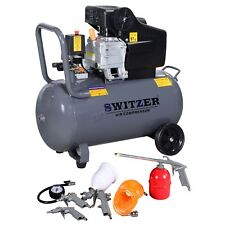 SwitZer Air Compressor 50L Litre LTR 2.5HP 8 BAR 9.6CFM + Wheel 5PCS Kits AC004