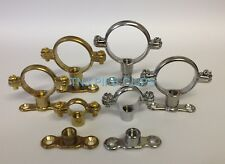 Brass Munsen Ring & Backplate Pipe Clips - All sizes brass finish or chrome
