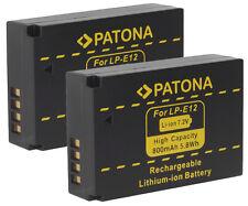 2 x Patona Premium-Akku für Canon EOS M, M10, EOS M50, 100D, Rebel SL1 - LP-E12