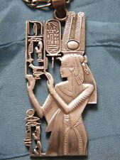 Pendentif argent sterling Reine egyptienne,cartouche hiéroglyphes+collier métal.