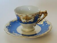 Vintage Demitasse Cup and Saucer Set White and Blue Gold Detail Made in Japan
