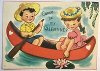 Vintage Valentine Card Sweethearts in Canoe Boat Lillypad Boy Girl Collectible
