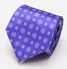 NWT $230 BRIONI Slim Satin Silk Tie Lavender Purple Floral Medallion Print