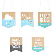 1 Pc Various Shape Wooden Wall Plaque Sign Hanging Sign for Kid Room Home Decor
