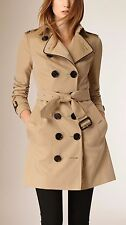 NWT 100% Auth Burberry Women Chain Trim Cotton Gabardine Trench Coat Size 6