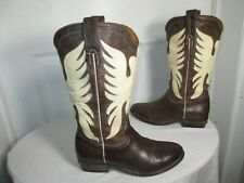 ZADIG & VOLTAIRE BROWN/WHITE LEATHER MID CALF WESTERN BOOTS SZ 35 US 5 350 €