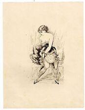 """FEMME GALANTE"" DESSIN ORIGINAL A LA PLUME / ANNEES 1870"